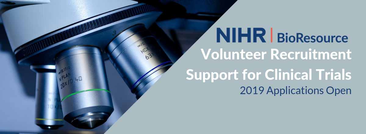 NIHR BioResource 2019 Applications Open for Volunteer Recruitment