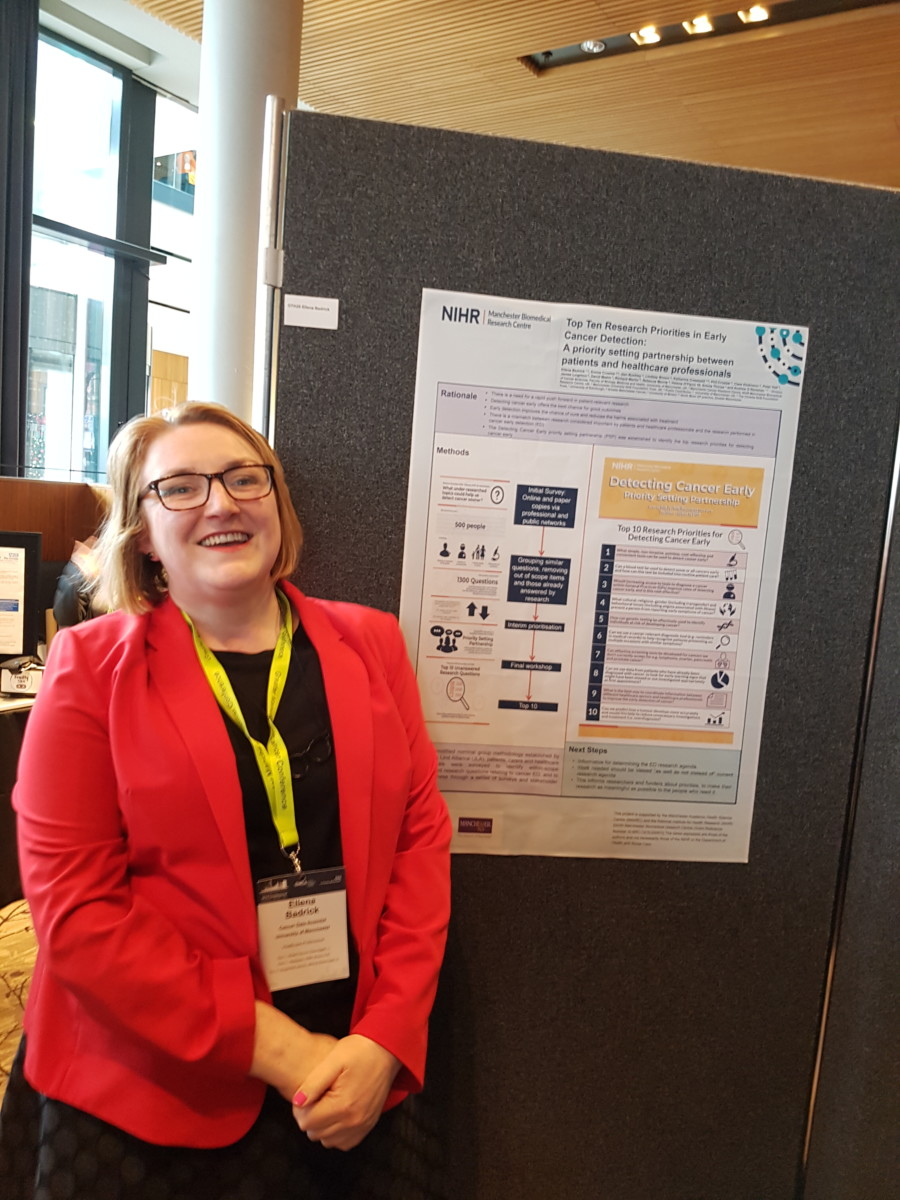 A photo of Ellie with the winning poster at the Greater Manchester Cancer Conference