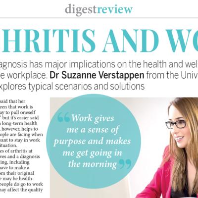 Arthritis and work – Dr Suzanne Verstappen speaks to Arthritis Digest