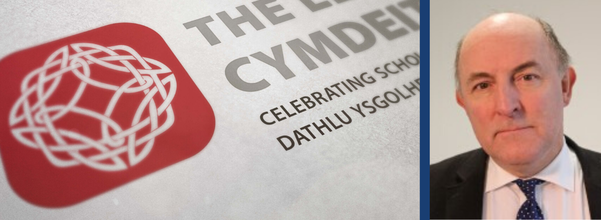 The Welsh Learned Society logo alongside Professor Gareth Evans