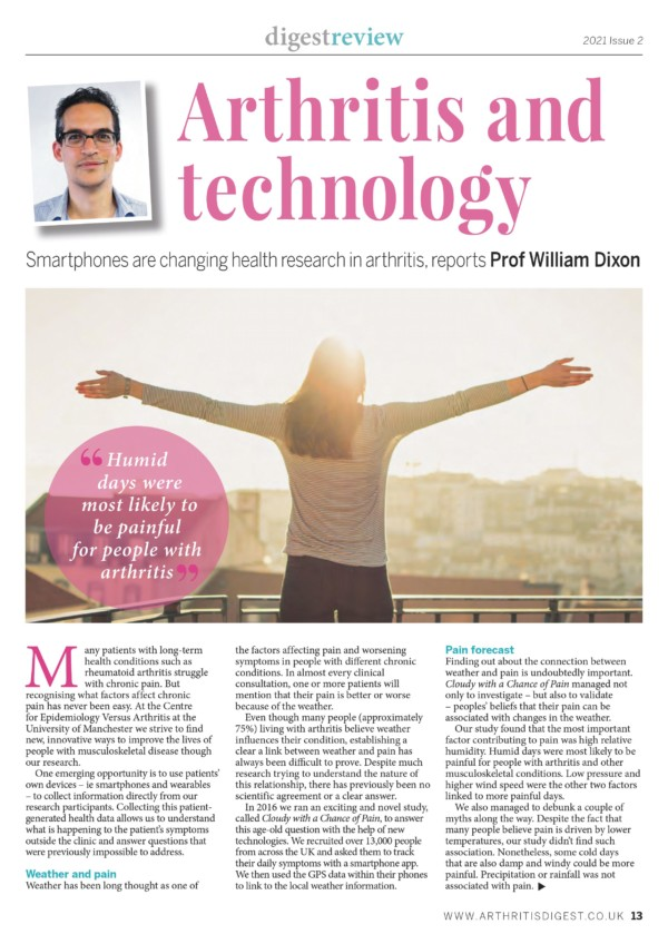 Image of Arthritis Digest magazine article from Will Dixon